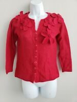 Christmas Red Knit Angora Rabbit Hair Sz Small Floral Button Down Cardigan