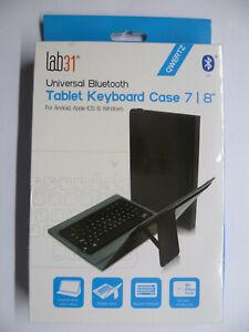 Universel Bluethooth Tablette Clavier Coque 7 8 Pouces lab31 Qwertz Noir Neuf /