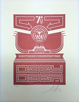 Shepard Fairey OBEY CHINESE BANNER Letterpress 2014 print poster giant building