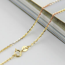 Authentic 18K Multi-tone Gold Necklace 1.2mm O Link Chain 45cm L Au750