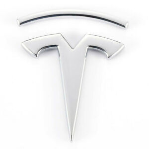 Chrome 3D Tesla Logo Metal Body Side Emblem Decal for Model S X 3 Y