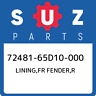 72481-65D10-000 Suzuki Lining,fr fender,r 7248165D10000, New Genuine OEM Part