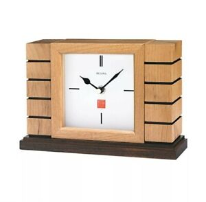 Bulova Clocks B1659 Usonian II Mantel Clock, Natural Finish w/ Walnut Stain Base