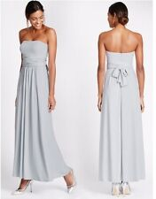 Marks and Spencer Multiway Strap Maxi / Bridesmaid Dress Silver Grey Size 10