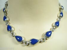 "17"" STERLING SILVER MEXICAN TEARDROP BLUE STONE CHOKER NECKLACE"