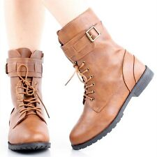 NEW Womens Shoes Combat Military Army Flat Ankle Boots Buckle Lace Up Sz 6.5-11