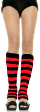 RED Fuzzy Striped Leg Warmers by Leg Avenue Womens One Size Sexy Knee High NEW