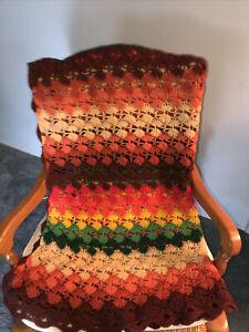 "Handmade Vintage Crochet Afghan Throw Blanket 76"" X 36"" Fall Retro Colors 1960s"