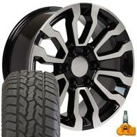 """18x8.5 AT4 5909 Wheels Tires TPMS Fits Chevy GMC 18"""" Black Machined"""