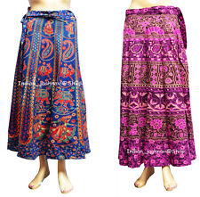 Floral Rapron Print Cotton Long Set of 2 Women Ethnic Skirt Wrap Around Skirt