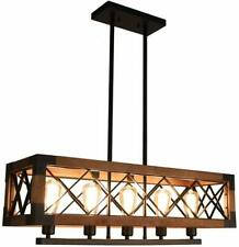 5-Arm Modern Wood Shade Chandelier Ceiling Lamp Industrial Pendant Light Kitchen
