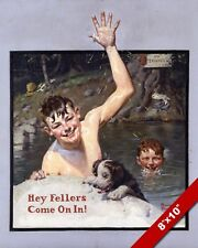 NORMAN ROCKWELL BOYS IN OL' SWIMMING HOLE ARTOIL PAINTING PRINT ON CANVAS PRINT