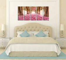 Canvas Prints, Pink Flower Forest Pathway Print Canvas, 5 Panel Print, Wall Art