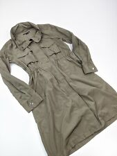 Theory Womens Full Zipper Hooded Hattie Anorak Rain Coat Trench Olive Green Sz M