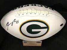 AARON RODGERS / AUTOGRAPHED GREEN BAY PACKERS LOGO WHITE FOOTBALL / STEINER