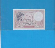 5 Francs VIOLET  du 19-10-1939  Alphabet X.64382  Billet N° 1609546024