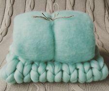 Aqua menta verde neonato Photo Prop Set Cesto STUFFER BABY FLUFF e aperto RTS