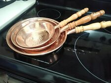 Set of 3 handmade Copper pan set. Mexican pans. Manually hammered