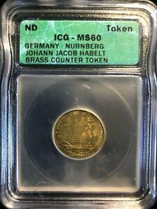ND Pre 1855 Germany Nurnberg Johann Jacob Habelt Brass Counter Token ICG MS60