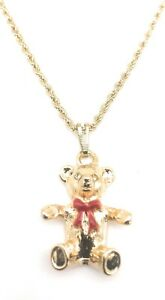 """Teddy Bear Pendant Yellow Gold Plated Charm 20"""" Rope Necklace Chain Red Enamel"""