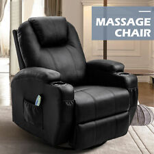 Ergonomic Leather Massage Chair Recliner Sofa Vibrating Heated Lounge w/RC Black