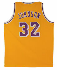Lakers Magic Johnson Authentic Signed Yellow Jersey Autographed BAS Witnessed 2
