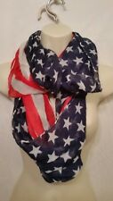 Patriotic American USA Flag Style Infinity Circle Loop Fashion Scarf