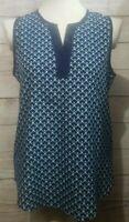 41 Hawthorn Stitch Fix Top Blouse Size Small Sleeveless V-Neck Blue White