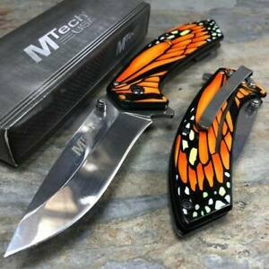 MTech Collectors Butterfly Wing Handle Spring Assisted Pocketknife [Orange]