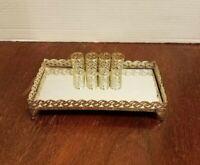 "VINTAGE DRESSER VANITY TRAY LIPSTICK HOLDER FILIGREE MIRROR GOLD TONE 8×4"""