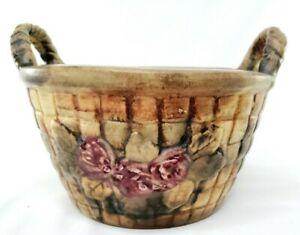 Weller Ware Flemish Rose Basket Vintage Pottery 1910/1920s MINT