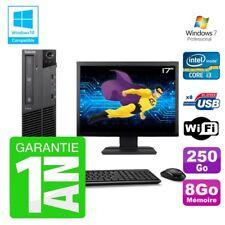 "PC Lenovo M91p SFF Intel I3-2120 8Go Disque 250Go Graveur Wifi W7 Ecran 17"""