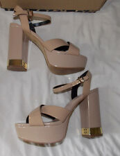 River Island, beige, leather Peep toes. 1.25'' plat. 5'' heel. size 5. VG boxed.
