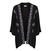 Anmol Short Black Embroidered Kimono Cover Up BNWT Size 18.