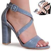 Damenschuhe Riemchen Sandaletten Sandalen Sling Pumps High Heels Snake Optik