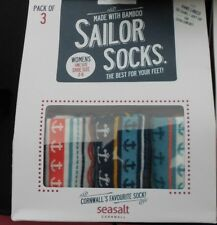 3 PAIRS OF SEASALT BAMBOO WOMENS SAILOR SOCKS  SIZE 3-8 UK 36-42 EU SEA SALT