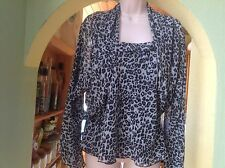 BNNT LOVELY FORMAL/CRUISE BLACK/GREY PRINT CAMISOLE TOP & SHRUG by ROMAN UK14