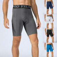 Men's Compression Pants Athletic Running Training Gym Shorts Bottoms with Pocket