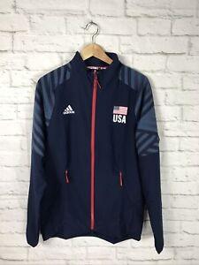 NEW Adidas Mens USA Volleyball Blue Full Zip Warmup Jacket Size Medium