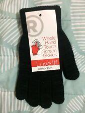New Radio Shack Whole Hand Touch Screen Gloves Womens Black S/M Small Medium