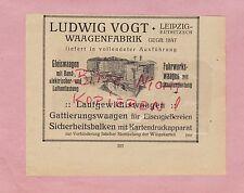 LEIPZIG, Werbung 1920, Ludwig Vogt Waagen-Fabrik Gleiswagen Fuhrwerk-Waage