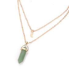 Natural Quartz Crystal Stone Point Chakra Healing Pendant Double Chain Necklace