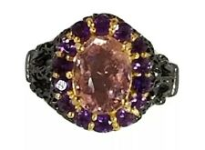 Womens AAA+ Color 4ct+ Natural Tourmaline 925 Sterling Silver Ring Size 8.5