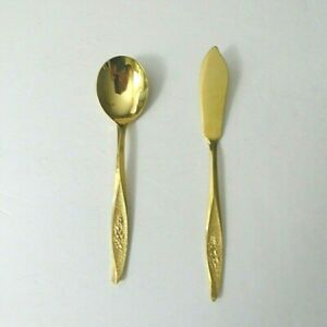 NASCO JAPAN STAINLESS GOLD ELECTROPLATE SUGAR SPOON AND BUTTER KNIFE
