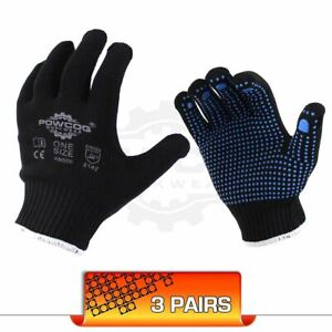 3 Pairs Nylon Safety Gripper Work Gloves  BLUE PVC Polka Dots  PPE Warehouse