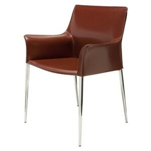 """26.5"""" W Set of 2 Dining Chair Bordeaux Leather Seat Chrome Steel Legs Modern"""