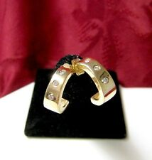 14K YELLOW GOLD THREE ROUND DIAMOND SMALL HALF HOOP STUDS EARRINGS 3.2 GRAMS