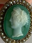 Fine Victorian 9ct Rose Gold Hardstone Agate Cameo Pendant & Chain Seed Pearls