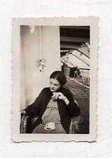 PHOTO Snapshot Femme enceinte Portrait Vintage Bateau Croisière Années 1930 Rare