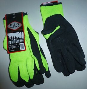 B&G Hi-Vis Yellow Lime Latex Dipped Knit Mechanic Work Gloves, Sizes S M L XL